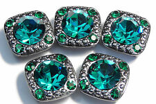 5 - 2 HOLE SLIDER, SPACER BEADS 8mm BLUE ZIRCON & 2mm EMERALD AUSTRIAN CRYSTALS