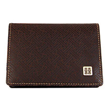 Brown leather case for credit business cards chinese ideogram double joy
