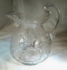 CAMBRIDGE ROSE POINT CRYSTAL #3400 76-OUNCE DOULTON PITCHER HOT APPLIED HANDLE!