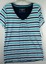 Nautica Womens 100% Cotton Multi Striped Sleepwear PJ Top Shirt NWT Sz L