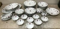 63 PCS Japan Meito Rose Chintz Service for 8 Fine China Complete Set Dinnerware