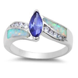 Tanzanite Marquise Simulated Diamonds White Fire Opal Sterling Silver Ring