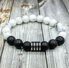 """HIP 8""""L STAINLESS STEEL 10mm White Howlite+Black Lava Gemstone Beaded Bracelet"""