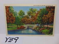 VINTAGE POSTED POSTCARD STAMP 1934 VIEW IN GLEN MILLER PARK RICHMOND INDIANA IN.