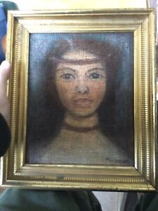 Native American? Female Portrait Oil on Canvas Vintage Signed Painting No Res.