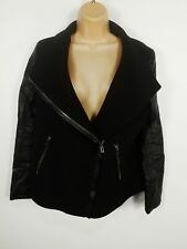 WOMENS BERSHKA BLACK FAUX LEATHER ARM WOOL ZIP UP OVERCOAT WINTER LARGE L