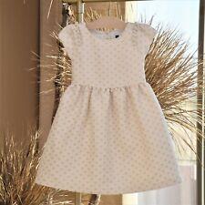 Janie & Jack Girls Cream Gold Christmas Polka Dot Holiday Dress Size 4 Nwot