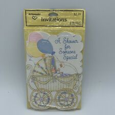 Baby Shower Invitations Vintage Hallmark Ambassador 8 Baby Carriage Usa