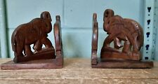 Carved Wooden Elephant Bookends 32B
