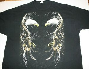 American Bald Eagles and Lightning GILDAN VTG. Tshirt Sz. 3XL