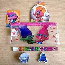 NEW - TROLLS PENCIL CASE - 2x Pencils, Eraser, Sharpener, Notepad - Dreamworks