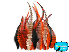 2 Dozen - SHORT PUMPKIN MIX Grizzly Rooster Hair Extension Feathers