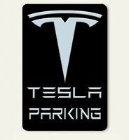 Tesla Parking w/ Emblem on Black Abstract Art 8 X 12 Novelty Aluminum Sign - New