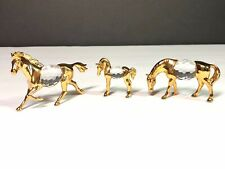 Set of 3 Gold Plated & Crystal Horses Figurines