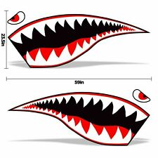 """2 pc set shark tooth mouth universal vinyl decal for side fender 59"""" x 23.5"""""""