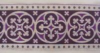 """3½""""  Wide Jacquard Trim Traditional Silver & Purple Chausible Vestment Sewing"""