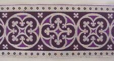 """3½""""  Wide Jacquard Trim Silver & Purple Chausible Vestment Sewing 3 Yards Pugin"""