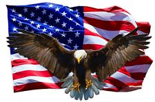 "Soaring Bald Eagle American Flag Decal Large 24"" X 17"" Free Shipping"
