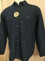 NWT Wrangler Shirt Jacket Long Sleeve L/S Solid Darkr Blue 4 Pocket Sherpa Lined