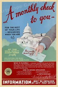 """1935 Social Security """"A Monthly Check To You"""" Advertising Poster - 16x24"""