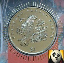 1996 Liberia 1 DOLLARI DOLLARO OBE MONETA preservare PLANET WWF Parrot Primo giorno di copertura