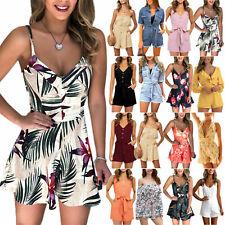 Summer Women Mini Jumpsuit Dress Romper Floral Holiday Beach Shorts Playsuit UK