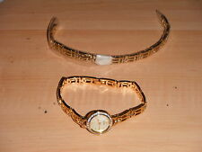 ACCURIST WOMENS QUARTZ WATCH WITH MOTHER OF PEARLS & GOLD PLATED BRACELET