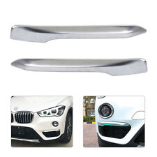 2x Front Silver Plated Fog Light Cover Eyelid Trim Fit For BMW F48 X1 2016 2017