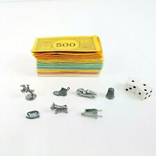 Vintage Monopoly Board Game Pieces Parts Money, Tokens, Dice - 1973