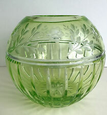 AJKA PRIONNSEAS LIME PERIDOT CASED CUT TO CLEAR ROSE BOWL / VASE