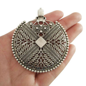 2 Antique Silver Large Bohemian Boho Filigree Embossed Charms Necklace Pendants
