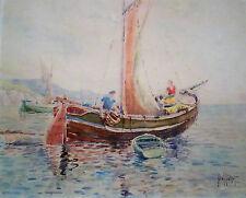 Noel Pichot (xixe Siècle) - Bateau De Pêche - Aquarelle
