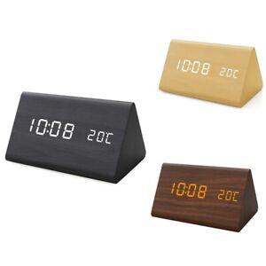 1X(Humidity and Temperature Alarm Clock Digital Baby Room Wood Clock Mute Lu2Z5)
