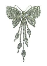 Bella Crystal White Butterfly Barrette Hairclip w Tassos @ Deal Price AD9050