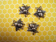 X-Small Oxidized Silver Brass Bee Stampings (4) - SOFFA8988