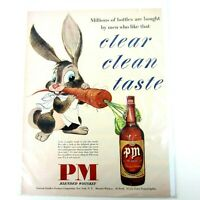 Vtg 50s PM De Luxe Blended Whiskey Clear Clean Taste Spirits Print Advertisement