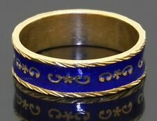 Antique 18K gold beautiful 5.9mm wide Blue enamel band ring size 8.25