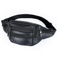 Mens Women PU Leather Waist Fanny Pack Money Bum Zip Bag Belt Travel Gym Satchel
