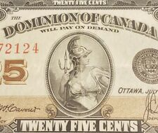1923 Dominion of Canada 25 Cents Banknote. MaCavour & Saunders Signed.