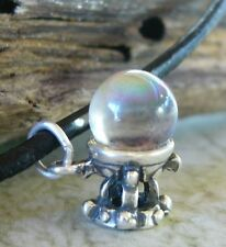 925 sterling silver CRYSTAL BALL 3D Fortune Teller clairvoyant Leather Necklace