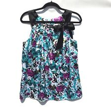 AB Studio Women's Size Medium Sleeveless Blouse Aqua Purple Black  Floral  0446