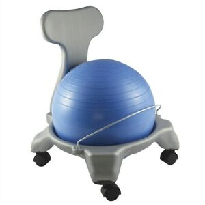 """CanDo Plastic Mobile Ball Fit Chair Child Size 15"""" Ergonomic Sitting Blue & Gray"""