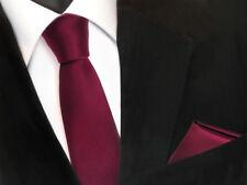 schmale TigerTie Schlips Krawatte Einstecktuch In rot Bordeaux Uni einfarbig