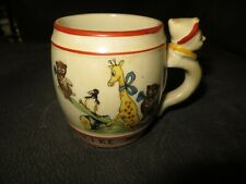 Vintage 1920 I LIKE MILK Childrens Cup Clown Handle Animals SeeSaw