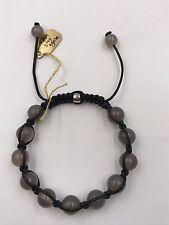 """Shamballa Beaded  Adjustable Bracelet  Grey Agate 7"""" - 8.5"""" inches Long"""