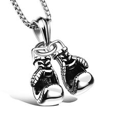 Gold/Black/Silver Boxing Glove Pendant Mens Stainless Steel Link Chain Necklace