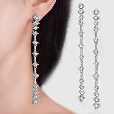 Europe Fashion Jewelry 925 Silver Natural Zircon Long Ear Stud Drop Earrings
