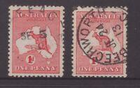 Victoria BEECHWORTH unframed and framed postmarks on 1d kangaroos