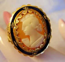 ANTIQUE LADY'S GENUINE CAMEO SOLID 18K KARAT GOLD RING SIZE 11 IN BOX 9.1 GRAMS