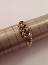 Charming Early Victorian 18ct Gold Suffragette Ruby, Emerald & Seed Pearl Ring
